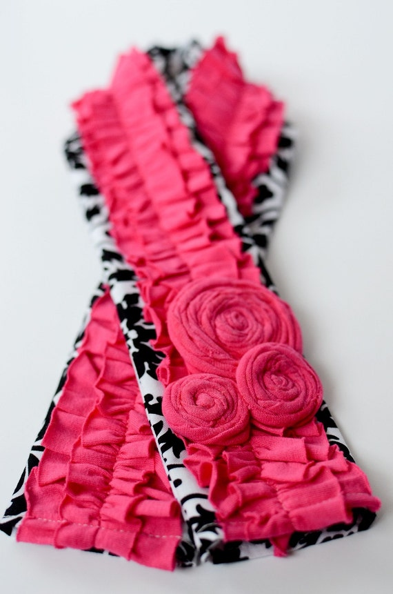 Black and White Damask Camera Strap with Pink Ruffle and Rosette