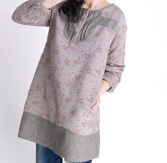 Floral casual and elegant long Shirt by gysde on Etsy from etsy.com