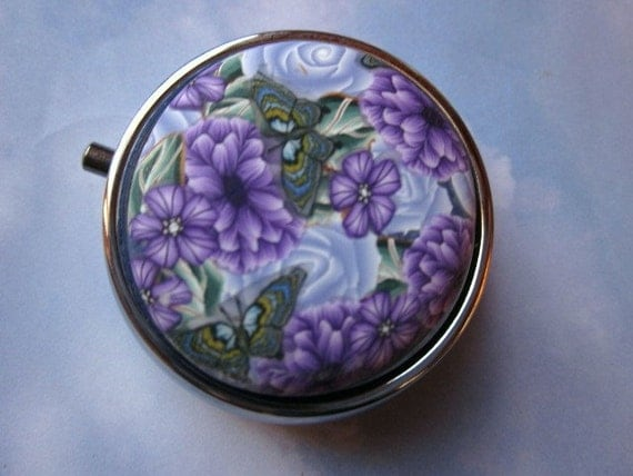 Polymer Clay Floral Covered Pill Box