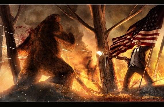 Teddy Roosevelt Vs. Bigfoot  Print