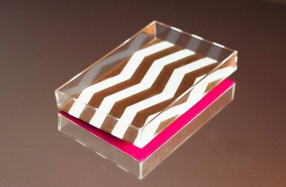 NEW - Limited Edition Petite Chevron Stripe Lucite Tray - Gold/White/Pink