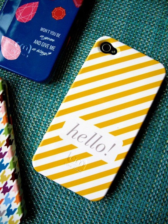 As seen in HGTV Mag - Neapolitan Stripe Custom iPhone 4 Case  with Name or Monogram - choose your own color