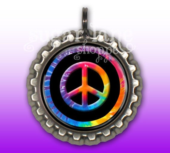 Tie Dye Peace Sign Bottle Cap Pendant Necklace with FREE chain - Buy 2, Get 1 FREE