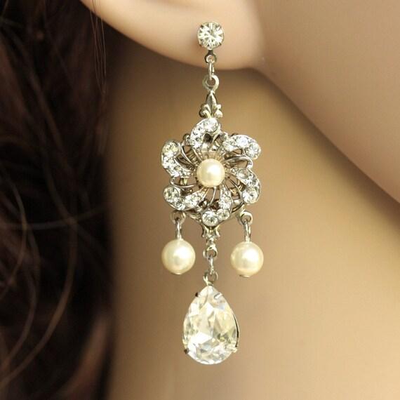 Bride Chandelier Earrings, Rhinestone Vintage Flower, medium size, SABINE FALLS