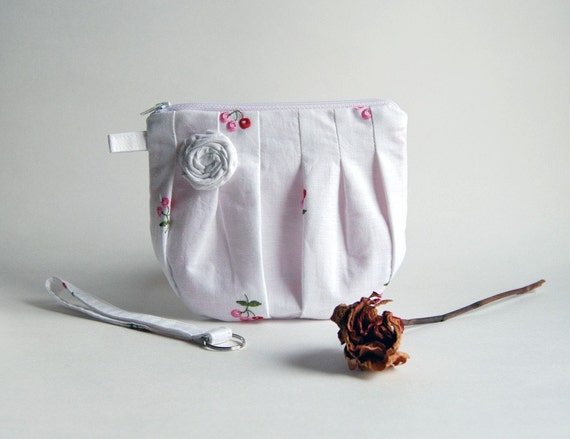 On Sale 15% OFF- Romantic Rosebud pleats in white zippered pouch, purse, clutch, wristlet by Lolos