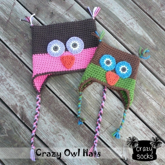 PATTERN - Crazy Owl Ear Flap Hat