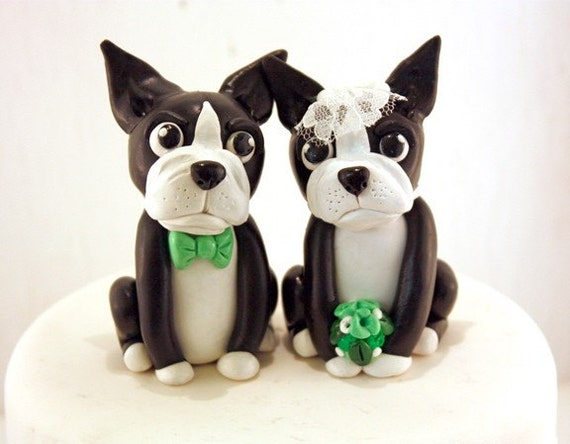 Boston Terrier Wedding Cake Toppers handmade to order polymer clay set