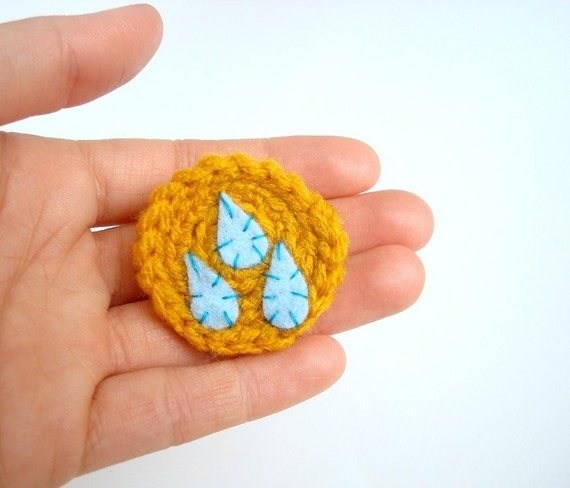 April Showers - handmade mustard brooch with rain drops - HANDMADE to ORDER