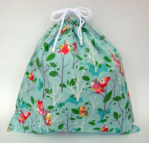 Large Wet Bag in Sky Blue Owl Hoots