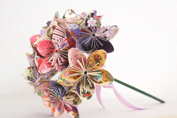 Origami Paper Flower Bouquet - pink purple and yellow