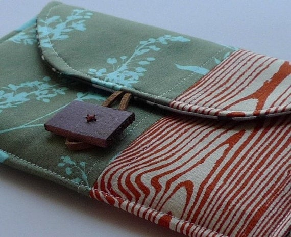 Gift for Grads-  Petite Pochette for Kindle 3 In Seafoam and Sage Wildflower with Rust Orange Woodgrain - Ready to Ship