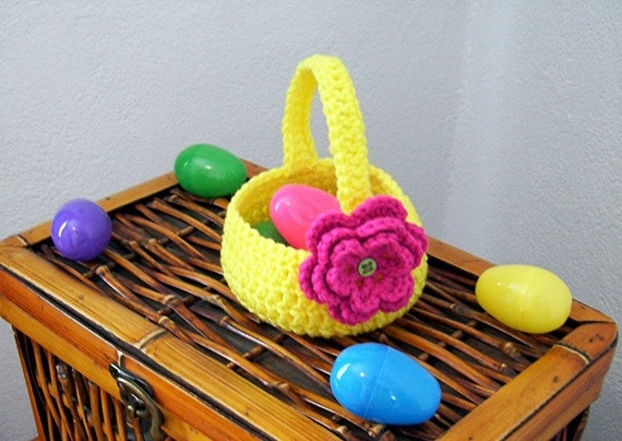 Yellow Crocheted Basket with Pink Flower