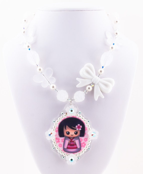 Limited Beautiful White Japanese Kokeshi Doll Cameo Pendant and Beaded Necklace Swarovski Pearls and Lucite