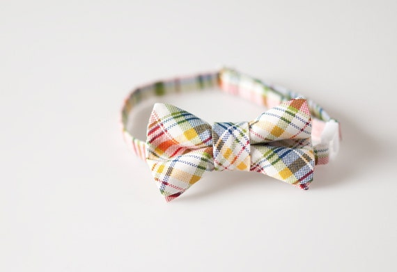 Little Boy Bowtie - Multi-Colored Plaid - Sizes 6M - 9 years