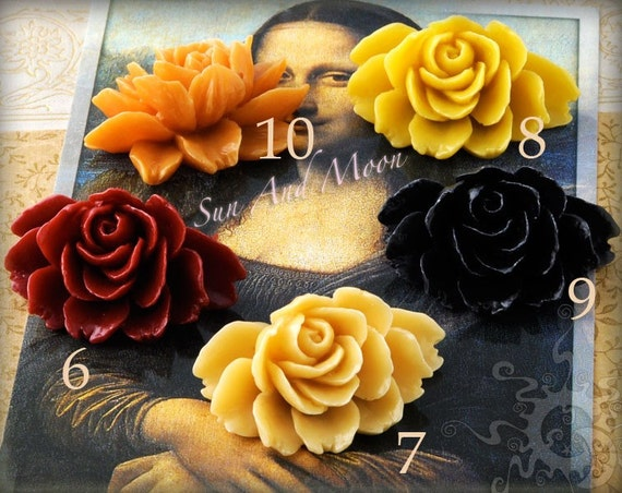 Resin Cabochons - 6pcs - Beautiful - Mix and Match Your Choice of Colorful Resin Flowers