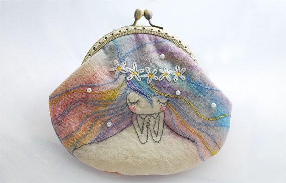 Vintage Embroidery Mermaid Purse (Metal Frame, My Own Design )