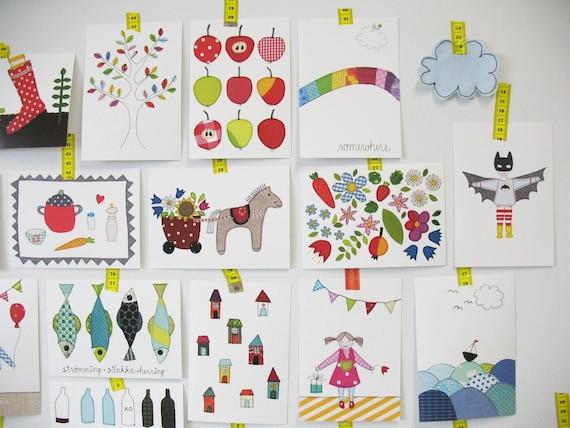 des cartes postales comme d coration murale papa g teau. Black Bedroom Furniture Sets. Home Design Ideas