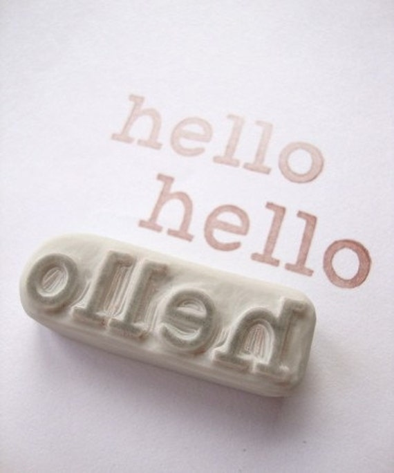 Hello Hand Carved Rubber Stamp