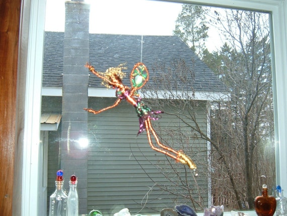 whimsical copper wire glass faery hanging sculpture