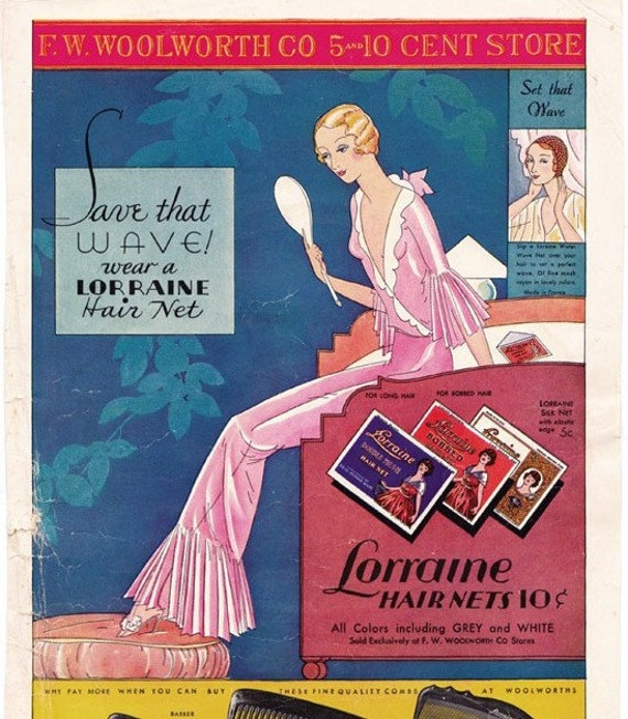 1932 ad Lorraine Hair Nets and Combs great Art Deco - Free U.S. shipping
