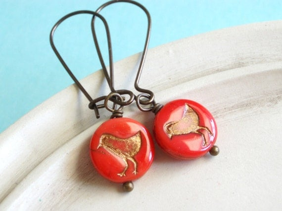 Tweet Earrings - Tomato