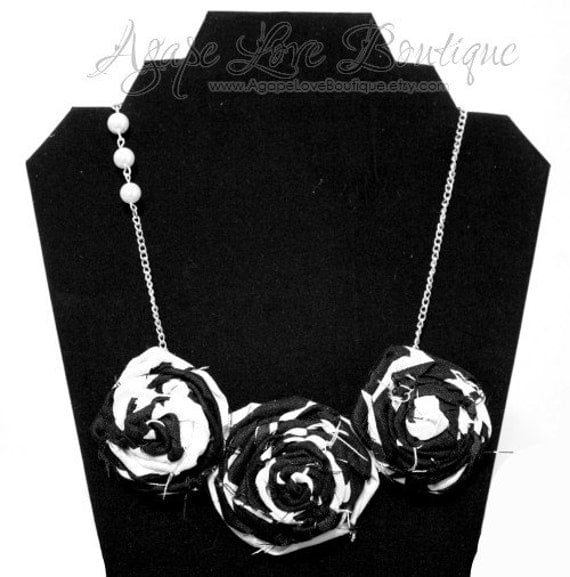 Little Black Dress Rosette Bib Necklace
