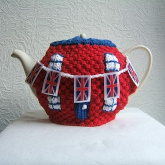 Union Jack Street Party Tea Cosy with Handing Knitted Bunting option, Egg Crown, Egg Brimmed Hat Cosys and Bunting Napkin Rings pdf KNITING PATTERN See Description for free pattern offer