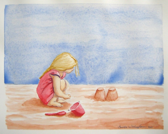 Building Sand Castles - 8x10 inch Origingal Watercolor Painting