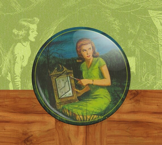"Nancy Drew - The Secret of the Old Clock  2 1/4"" Mirror Back Button"