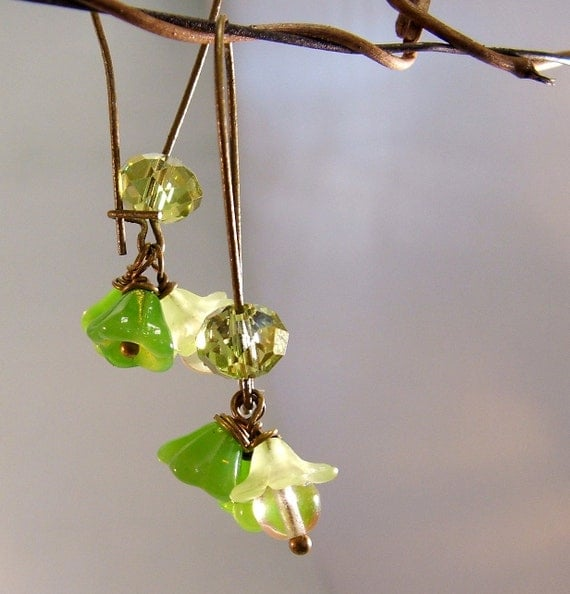 Spring Greens Earrings  FREE SHIPPING