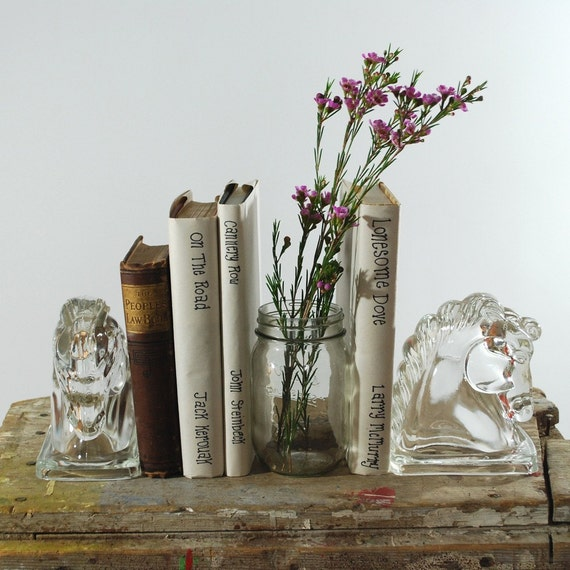 Glass Horse Head Bookends