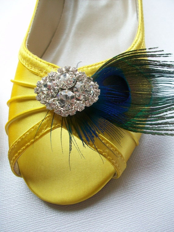 Peacock Yellow One Inch Wedge Heels Pick Your Own Rhinestone Bling...Special Occassion Shoe...Perfect For Outdoor Weddings... Available In Over 100 Colors