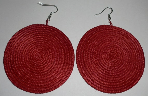 Earrings weaved from yucca plant fibers in Uganda Africa