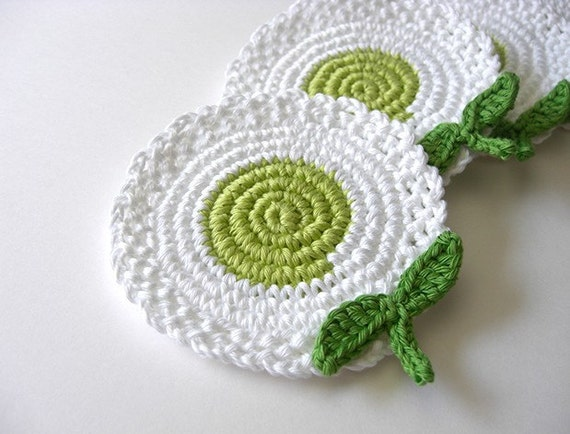 White Green Light Flowers Coasters . Leaves Beverage Nature Drink Decor Crochet Spring Garden Collection - Set of 4