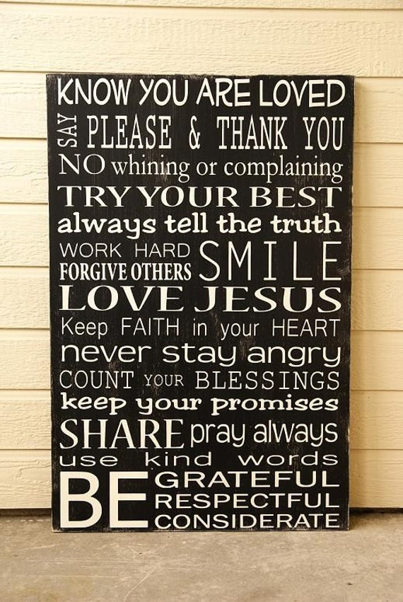 Custom Family Rules Sign - Extra-Large - Distressed - Solid Wood