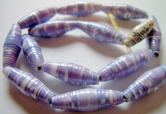 Pale Purple and White Hand Rolled Paper Beads