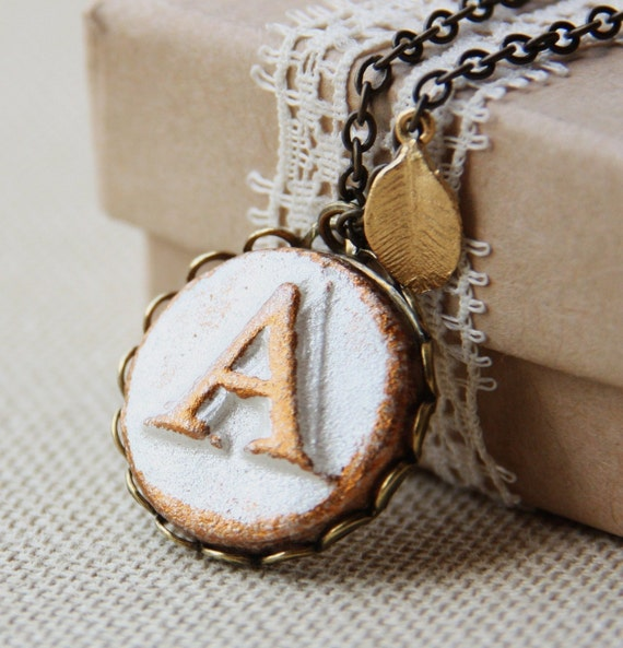 Your Initial necklace -  Round Pendant on lace edge setting - Personalized Custom Letter