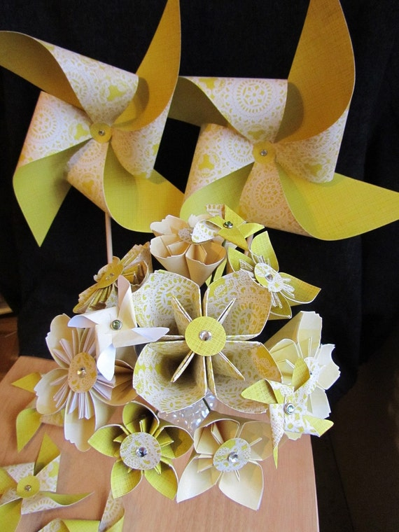 Custom Listing for GREENSHEEN Origami and Pinwheel Wedding Party Set