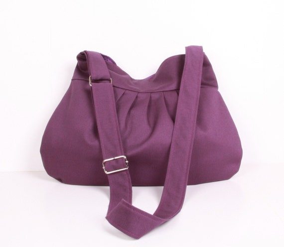 Everyday bag , Shoulder Bag, Adjustable strap, Purple Cotton and Purple lining