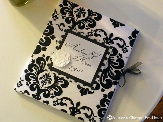 Custom Wedding Guest book - Black Damask