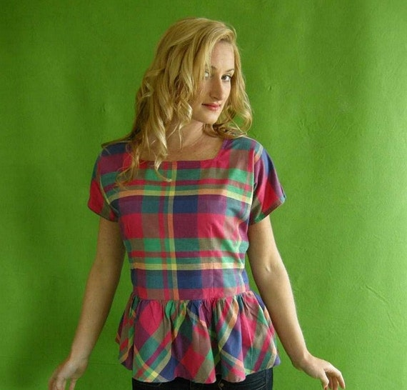 PREPPY Ruffled Madras Vintage 80s Top L Hot Pink by empressjade from etsy.com
