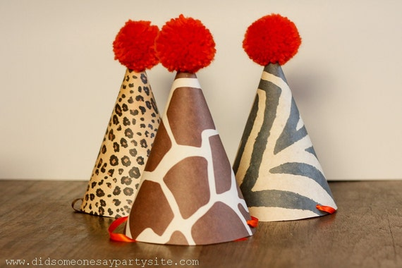 Children's Birthday Party Hats in Animal Prints