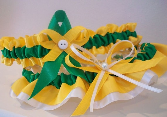 Go Packers Green and Gold Satin Garter Ready to ship