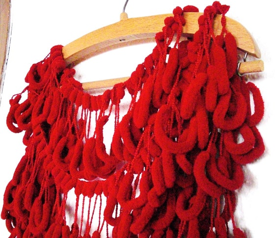 SCARLET  Red Mulberry Scarf No1 Holiday Gift Cocoon Yarn by Ebruk from etsy.com