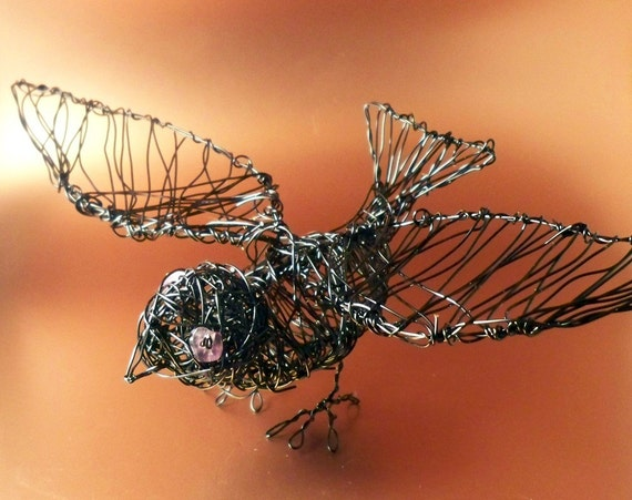 Wire Black Bird Sculpture with Amethyst Eyes UK SELLER