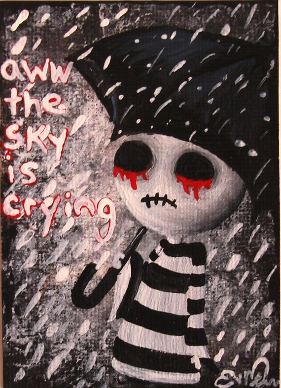 ACEO 'Big Juicy Tears of Blood & Pain' No.3 of Series Original Art Card
