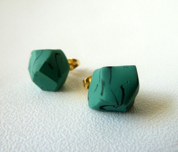 LAST ONE turquoise geo earrings