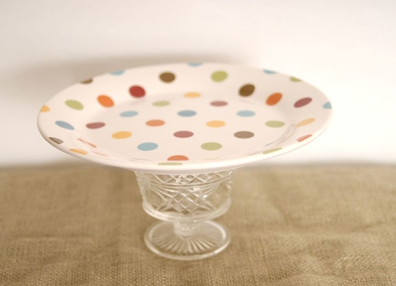 Moving Sale 50% off with coupon code --Polka Dot Dessert Pedestal