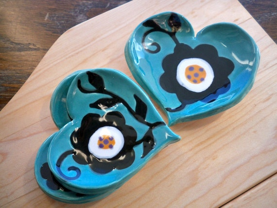 Flower Heart Tray, Handmade Pottery, Set of 3  in Turquoise, Black and White