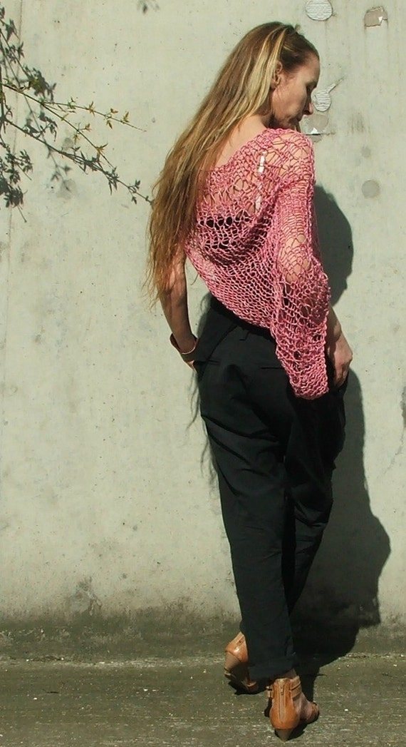 summer pink Loose weave cotton shrug Ooak in this shade
